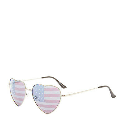 Heart Shaped American US Flag Print Lens Sunglasses America USA Stars /& Stripes