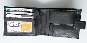 Quality-mens-gents-black-smooth-soft-leather-coin-wallet-id-window-zipped-pocket