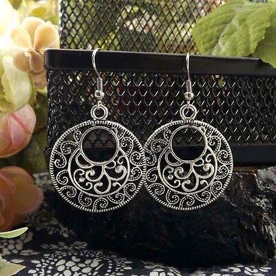 Vintage hollow round Tibetan Silver dangle Earrings Women party Gift 3CM long