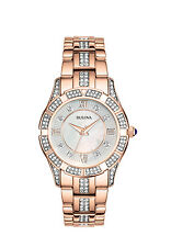 Bulova Women's Watch 98L197 Crystal Mother of Pearl Rose Gold Bracelet Watch