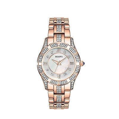 Bulova Women's Watch 98L197 Crystal Mother of Pearl Rose Gold Bracelet Watch