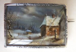 Broche-en-argent-massif-peinture-miniature-18e-siecle-bijou-style-VAN-GOYEN