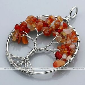 Red-Agate-Tree-Of-Life-Life-tree-Gems-Chip-Beads-Wire-Wrap-Pendant-fit-Necklace