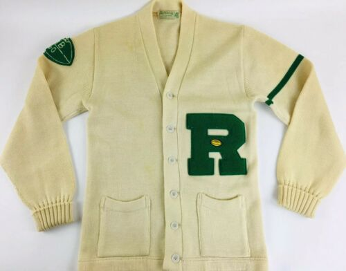 Vintage Sweater 60s Letterman Sweater Rockwood Tig