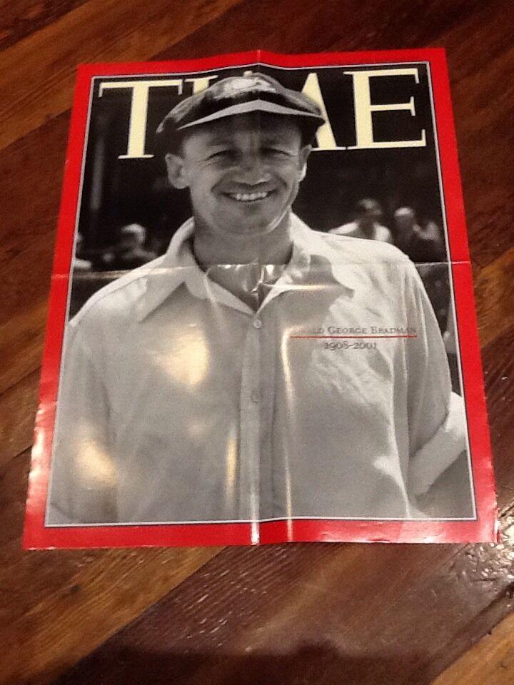 DON BRADMAN TIME ORIGINAL GENUINE NEWSPAPER POSTER