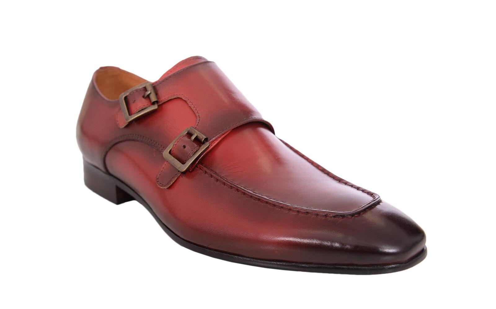 prima i clienti Carrucci rosso With Burnished Apron Toe Toe Toe Double Monk Strap Leather Dress scarpe  vendendo bene in tutto il mondo