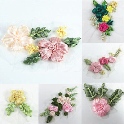 Ribbons Embroidery Flower Sewing Applique Patches for Clothes Dress Decor #6