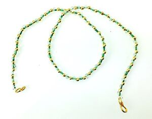 Clear /& Gold Crystal Bead Necklace Plastic Chain Jewellery  Plastic Beaded Chain