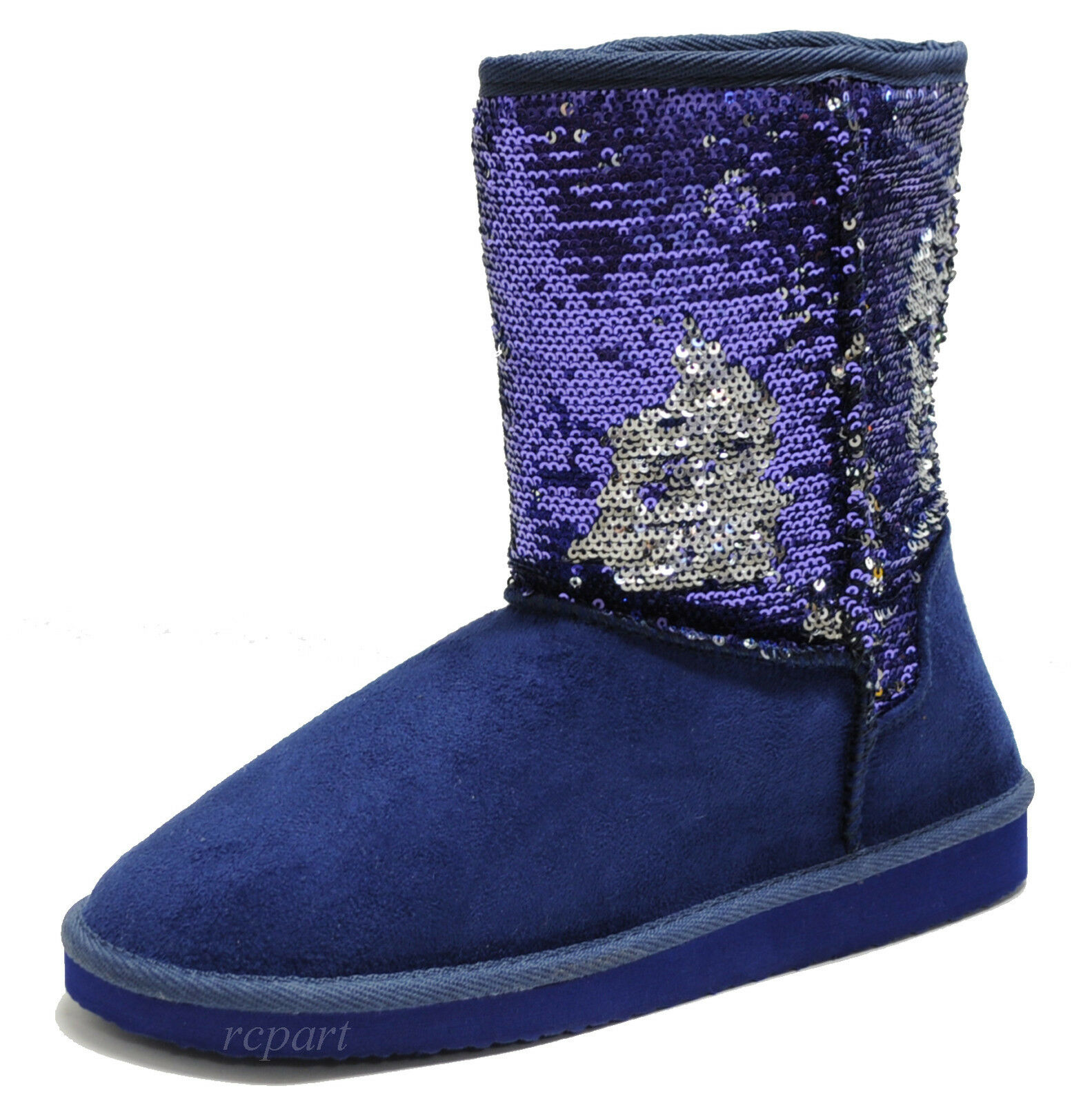 New women's shoes short shaft boot faux fur lining winter sequins royal blue