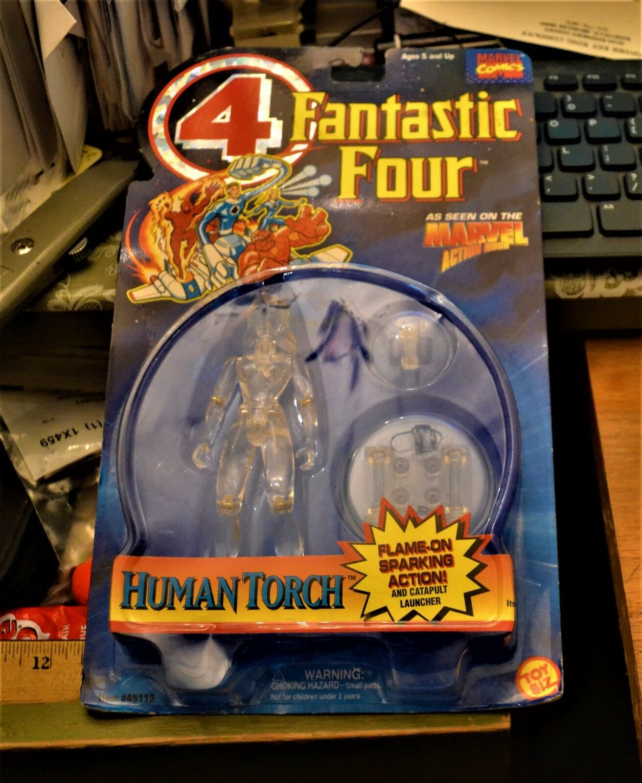 1994 Fantastic 4 4 4 Action Hour Invisible Woman MOC Variant Error Human Torch Card 315ccf