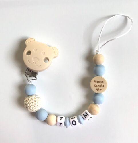 Schnullerkette Schnullerband Beißkette mit Namen Wunschname Teddy beige hellblau