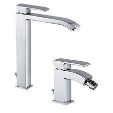 "Set rubinetti miscelatori lavabo e bidet design Paffoni ""Level"" finitura cromata"
