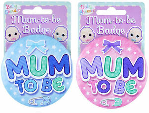 Baby Mummy Shower Badge Gender Reveal Oh New Blue Boy Girl Pink Mum Badges New