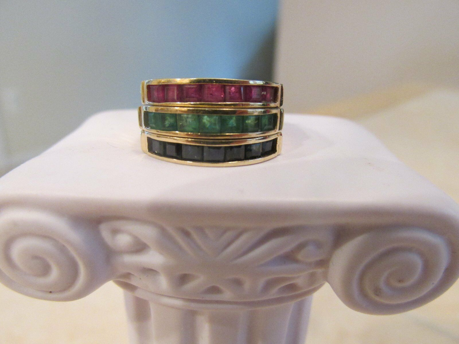14k sapphire emerald ruby rings-    All 3 are included  8 grams