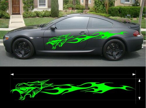 VINYL GRAPHIC DECAL KIT FIERY DRAGON CAR TRUCK CUSTOM SIZE COLOR VARIATION F1-53