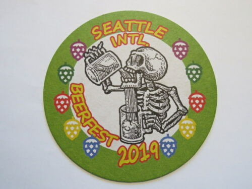 Beer Collectible Coaster ~ July 2019 Seattle Int/'l Beerfest ~ Skeleton Drinking