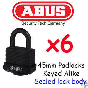 Padlocks x6 Weather Outdoor Waterproof Padlocks ABUS 45mm BULK LOT KEYED ALIKE