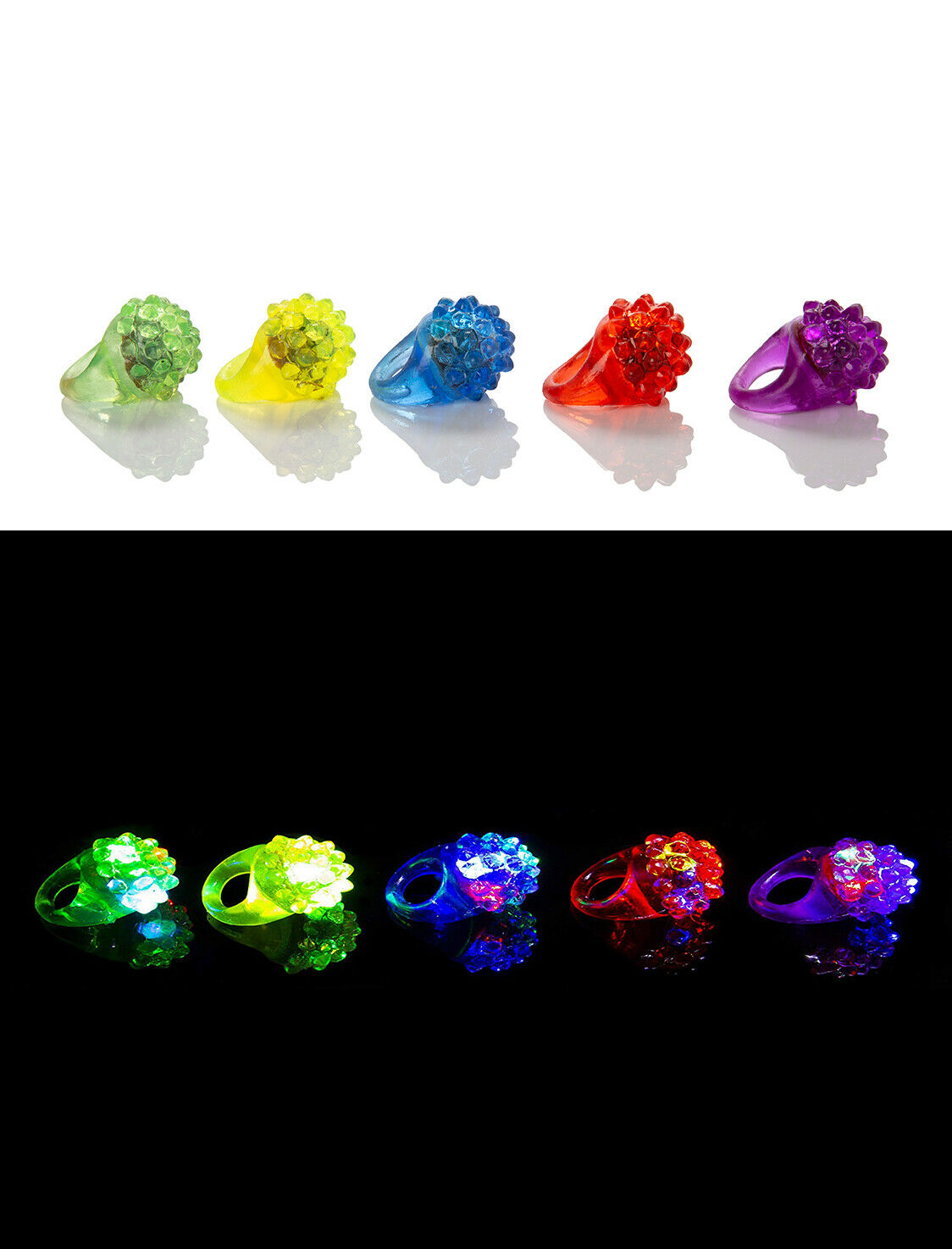 96 X Bumpy Clignotant LED Gelée Anneaux Lumière Doigt Préchauffage Jouet Fête