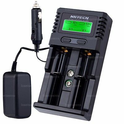 NKTECH H2 LCD Car/Wall Battery Charger For 18650 26650 14500 AA 6F22 AAA Soshine