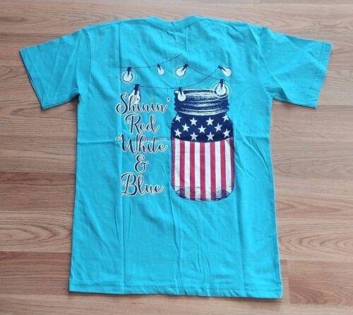 NWT Women/'s ROYCE BRAND Lagoon Blue S//S V-Neck Graphic USA Shinin/' T-Shirt 2XL
