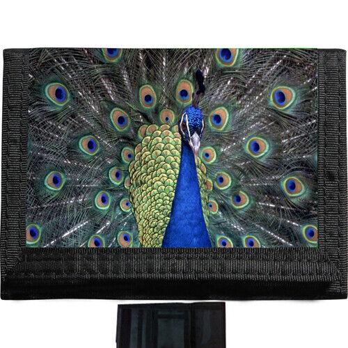 Peacock BLACK TRIFOLD NYLON WALLET Great Gift Idea