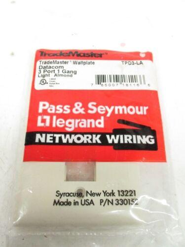TPD3-LA-44O PASS/&SEYMOUR TPD3-LA LIGHT ALMOND 1 GANG 3 PORT WALL PLATE 10 PCS