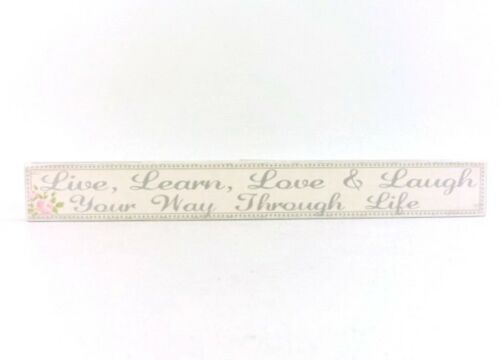 LIVE Learn LOVE and LAUGH Your Way Through LIFE Cream Floral Wooden Plaque