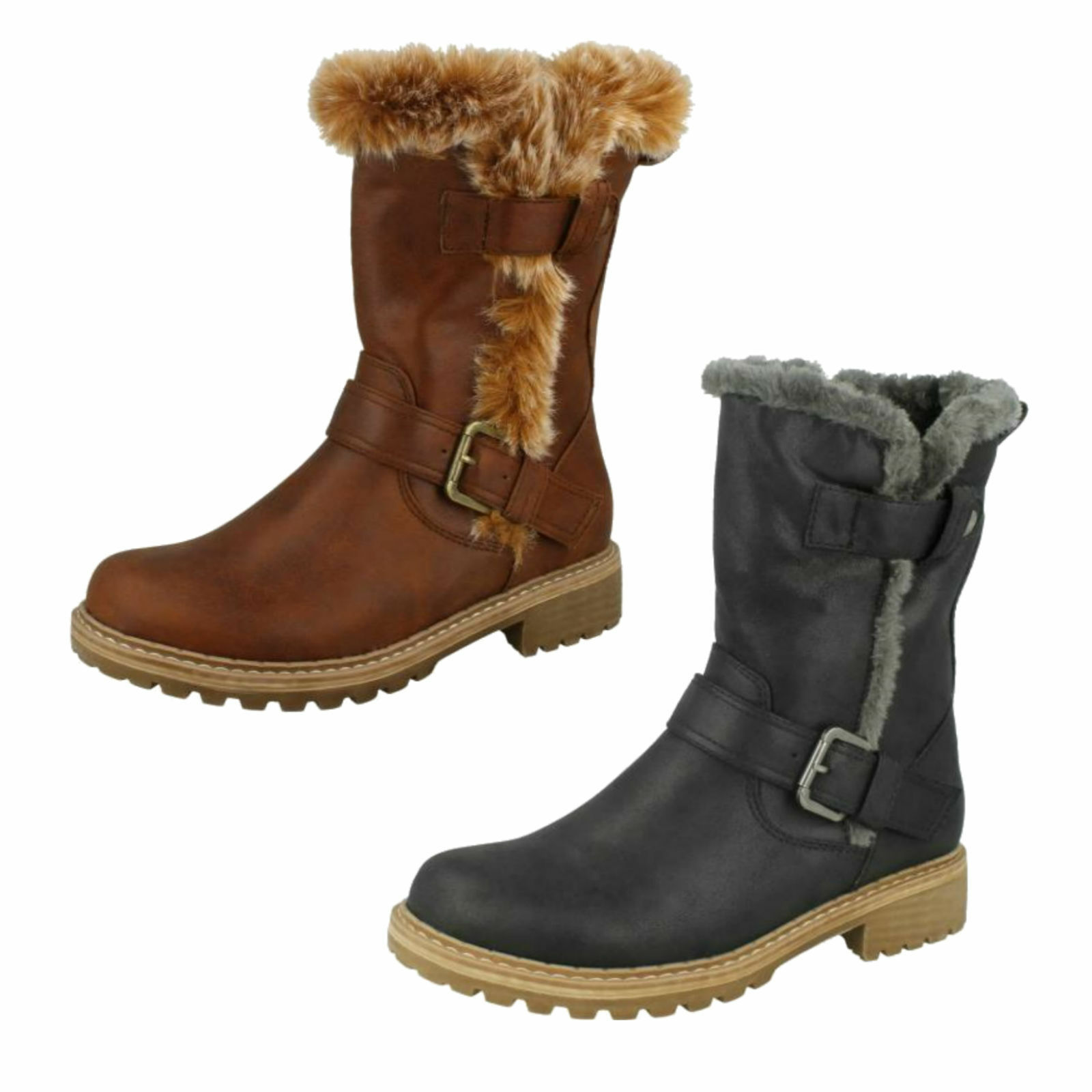 LADIES FAUX FUR LINED ZIP WARM WINTER BOOTS UK DOWN TO EARTH F50866 UK BOOTS SIZE 3 - 8 7e4936