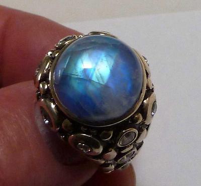Heavy Rainbow Moonstone & Topaz Ring 925 Sterling Silver Sz 9.5