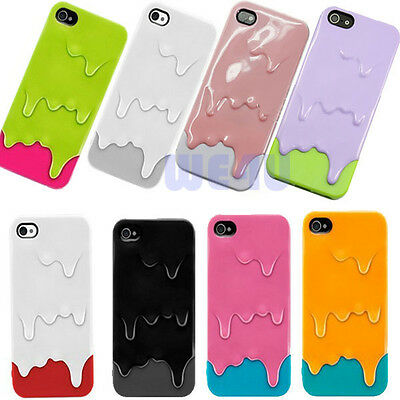 New Cool 3D Design Ice Cream Melting Skin Hard Case Cover For Apple iPhone 5 5G