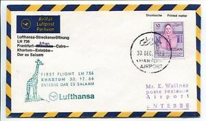 Ffc 1966 Lufthansa Primo Volo Lh 736 - Francoforte Khartum Entebbe Dar El Salaam