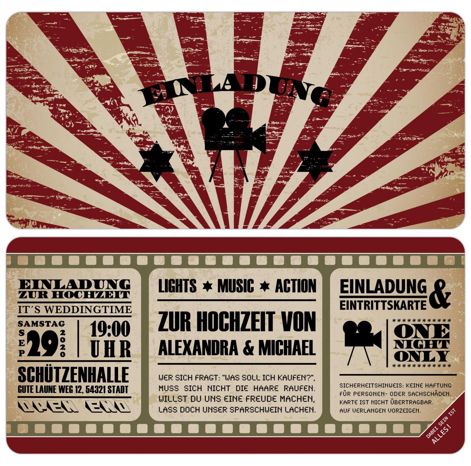 Vintage Kino Ticket Einladungskarten zur Hochzeit Eintrittskarte mit Perforation