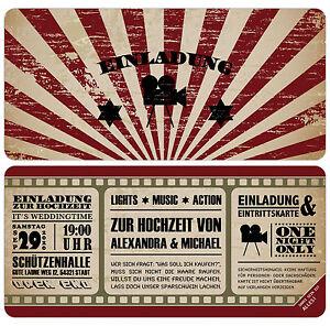 Das Bild Wird Geladen Vintage Kino Ticket Einladungskarten Zur Hochzeit  Einladung Eintrittskarte