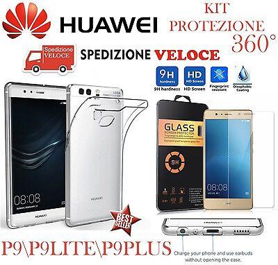 COVER CUSTODIA TPU SLIM PELLICOLA in VETRO TEMPERATO per Huawei P9 P9 LITE \PLUS