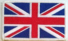 BRITISH Flag Embroidered Patch Union Jack England UK Great Britain Iron-On WHITE