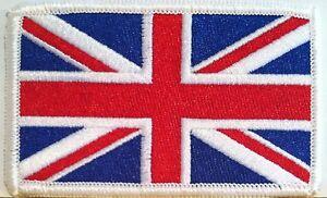 BRITISH-Flag-Embroidered-Patch-Union-Jack-England-UK-Great-Britain-Iron-On-WHITE