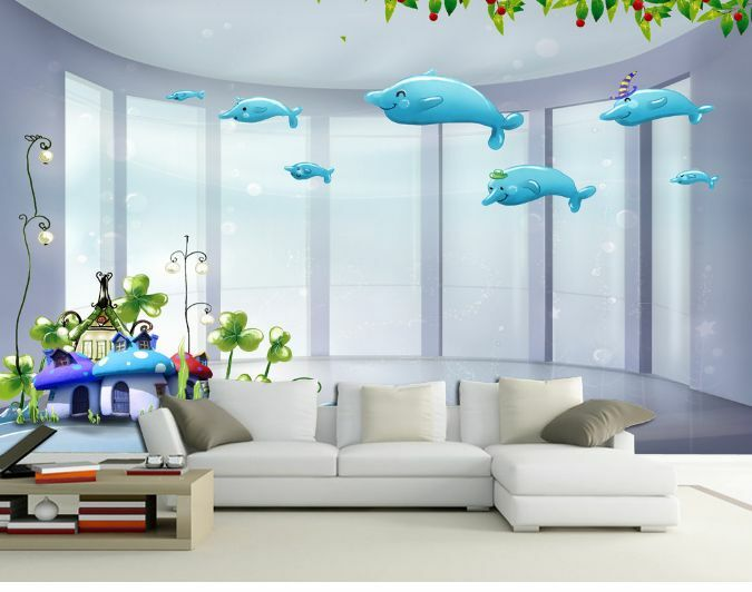 3D Cartoon Pale Blau Whale 48 Wall Paper Wall Print Decal Wall Deco AJ WALLPAPER