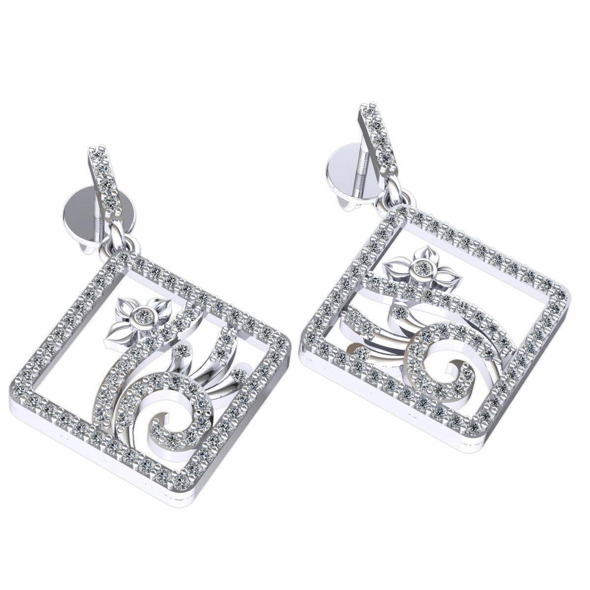 0.55ctw Genuine Round Cut Diamond Ladies Dangle Square Earrings Solid 14K gold
