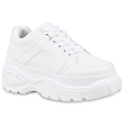 Damen Plateau Sneaker Basic Leder-Optik Freizeit Plateauschuhe 826607 Schuhe