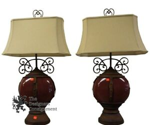 2-Beautiful-Rustic-Traditional-Red-Ceramic-Table-Lamps-W-Iron-Accents-Light