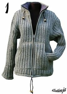 Winterjacke-100-Wolle-Strick-Kapuze-Hippie-Warme-Wolljacke-gefuettert-Strick