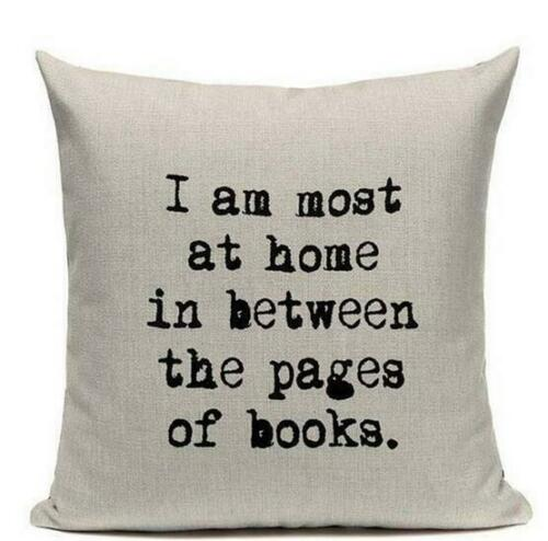 "18/"" Cotton Linen Cover Decorative Pillowcase Chair Seat Letter Pillow Cover Home"