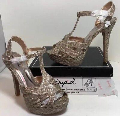 63fffa3e68b NEW QUPID Womens High Heels Shoes Size 8 Gold Glitter Open Toe T Strap  Platform | eBay