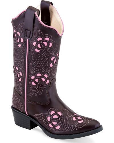 VJ9114 Round Toe Old West Girls/' Fancy Stitch Inlay Boot