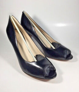 772fdbdc0d M2062 New Women's Nine West Orissa Black Leather Open Toe Pump 12 M ...