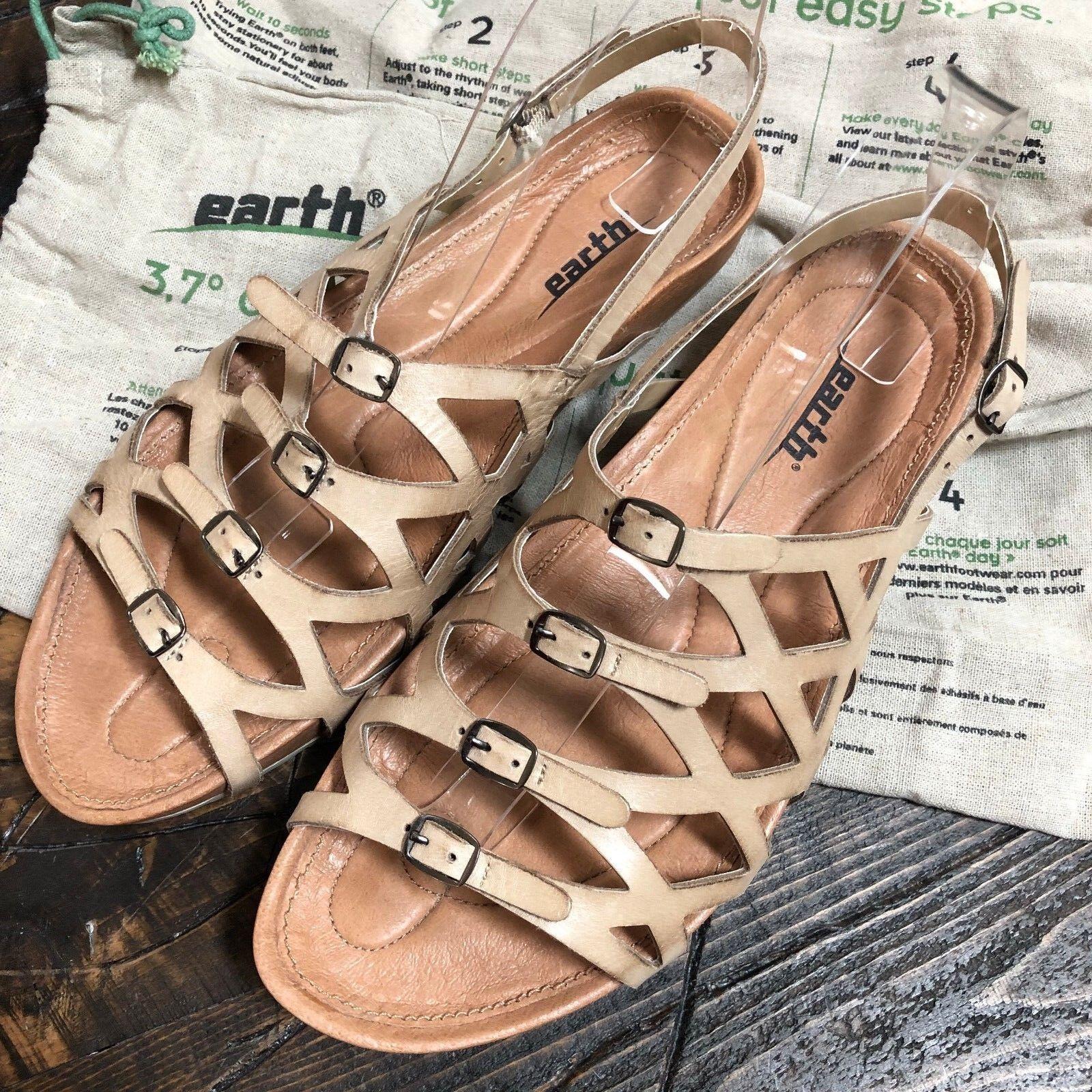 Earth 3.7  Elegant Biscuit Slingback Strappy Sandals Women's Sz 10 B