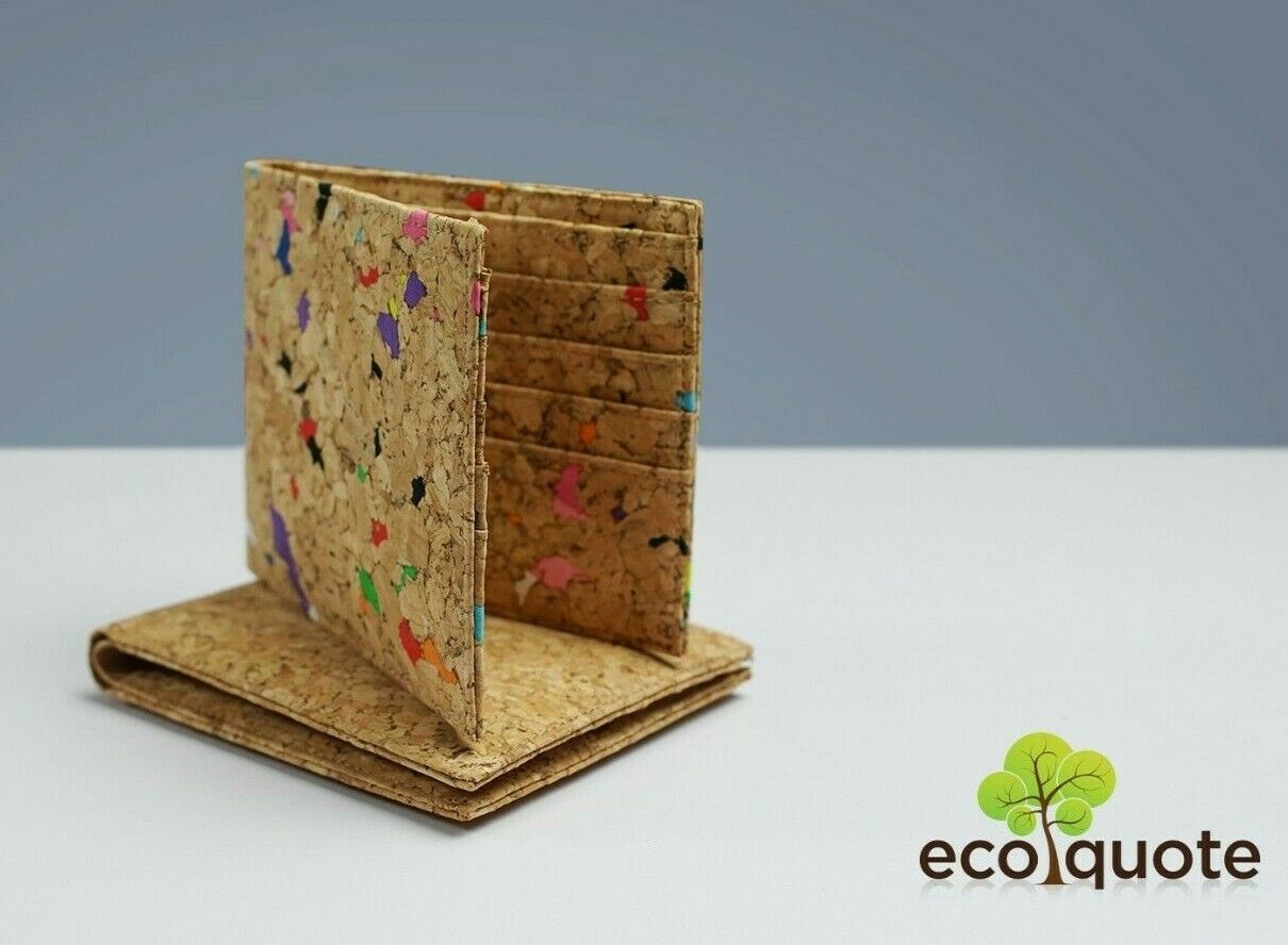 Cork Simple Bi Fold Wallet handmade Eco-Friendly & Sustainable Material EcoQuote