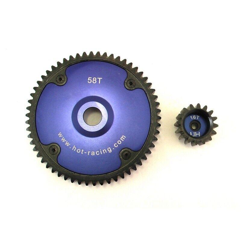 caliente Racing HPI Baja  5B 5T 5SC 58t Spur 16t Pinion Gear Set SBJA45816  buon prezzo