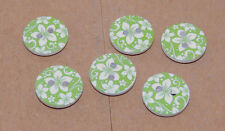 Round wooden Green 2 hole button set of 6 (11805)