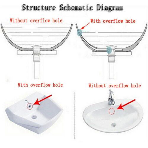 Pop-Up Drain Vessel Sink Waste Bathroom Basin Stopper Without Overflow Black